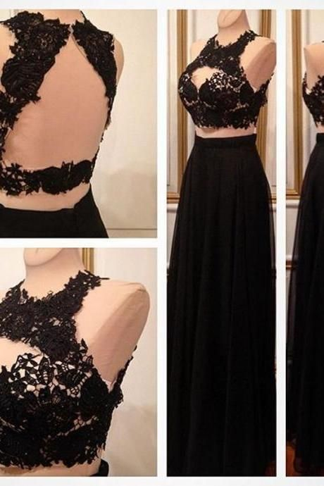 Prom Dress,Sexy Elegant Prom Dresses,Sexy Two Piece Black Prom Dresses,Sleeveless Lace Top Prom Dress,Long Evening Dress,Open Back Formal Dress