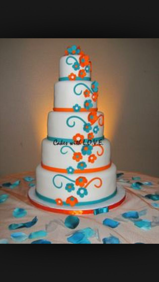 Turquoise and tangerine wedding cake