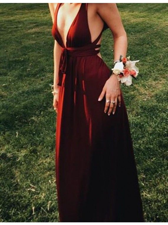 Sexy Deep V-Neck Sleeveless Floor-Length Burgundy Backless Prom Dress, prom dresses 2017.long burgundy party dresses.
