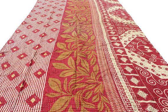 Twin Floral Sari Kantha Throw Vintage Best by Thepuranabazaar
