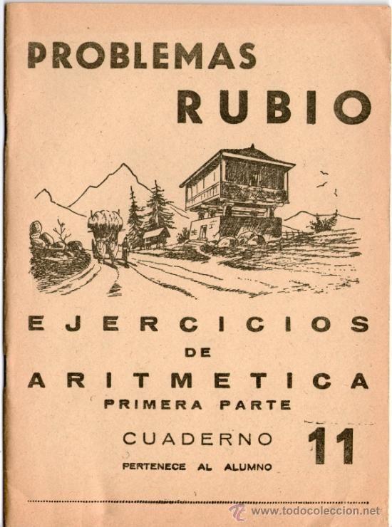 Cuadernos Rubio antiguos de problemas año 1959