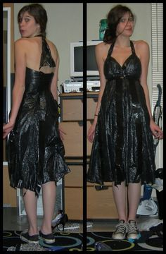oh dear! no clothes? - CLOTHING - anything but clothes party idea trash bag dress