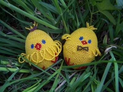 Beaded baby chickens Easter Eggs - made in Ternopil, Ukraine  #Ternopil #Ukraine #Ukrainian #Easter