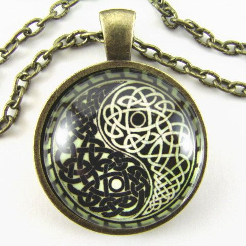 CELTIC YIN YANG Necklace  Yin and Yang Symbol in by HighwayGlass, $12.25