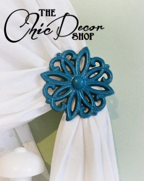 Curtain TieBacks, Teal, Curtain Tie Back Set, Holdbacks, Teal, Cast Iron, Victorian, Shabby Chic on Etsy, $25.00