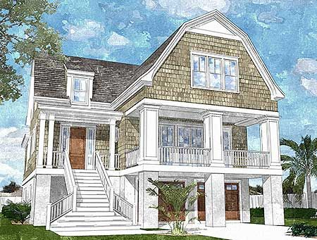 Plan 15039nc gambrel roofed shingle style house plan for Coastal house plans narrow lots