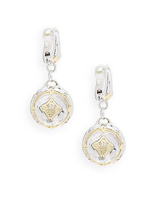 Judith Ripka Windrose Diamond, Rock Crystal & Sterling Silver Drop Earrings