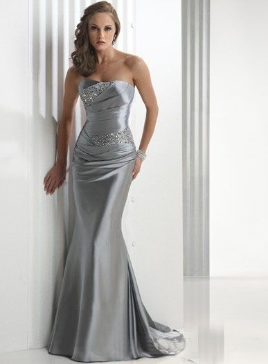 Buy Silver mermaid elastic satin pleated bodice bridesmaid dress/evening dress Online Cheap Prices