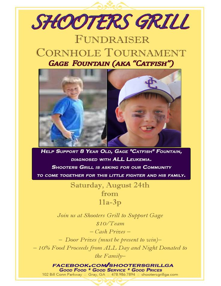 Benefit for Gage Fountain, August 24th. Door Prizes, Cornhole Tournament, Cash Prizes. 10% All Proceeds go to Gage! Please Re-Pin!