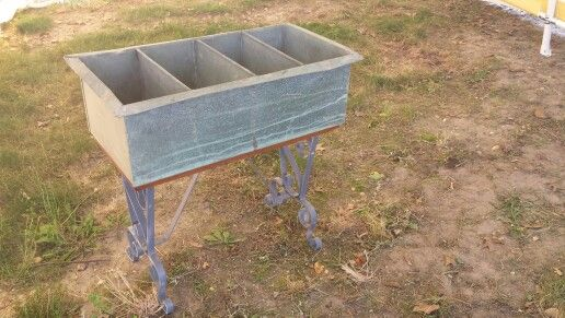 Vintage industrial loaf pan, mounted to a vintage iron bench. Great for beverages, flowers and herbs, or rolled towels for beside the pool. Still available $125