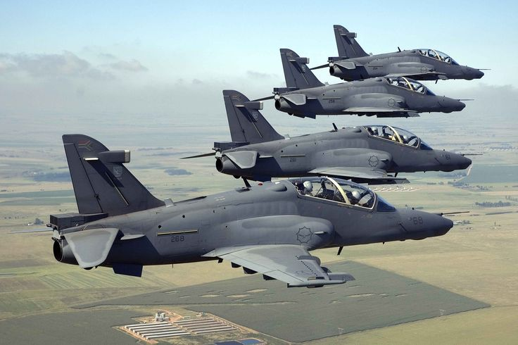 South African Air Force Hawk Fighters/Trainers in formation.