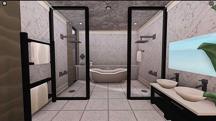 Bloxburg Builds On Instagram Gorgeous Bathroom Made By Thymen Builds Sims House Design Small House Design Plans Home Building Design