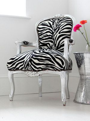 Vintage French Chair Zebra Print With Silver Frame Customizable Accent