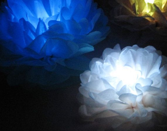 10 table centre pieces tissue pom poms with LED tea by Dollyblue11, £25.00