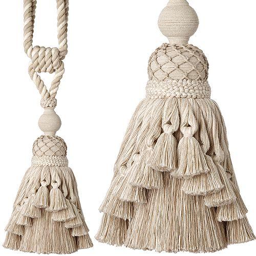 Regency Rope Curtain Tieback, Maria Natural Linen
