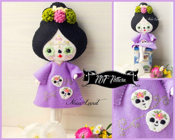 PDF pattern. Day of death doll. Mexican skull doll.