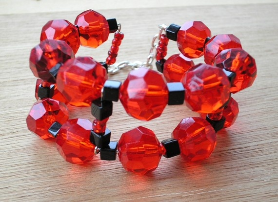 50% off enter code SUMMERSALE at checkout - Cuff Bracelet Red and Black Beads by amystreasures on Etsy, $15.00