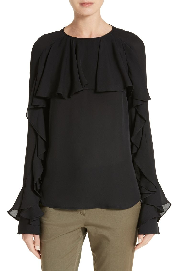 New Veronica Beard Mia Silk Ruffle Blouse WHITE fashion online. [$149.98] new offer from Newtstyle Shop<<