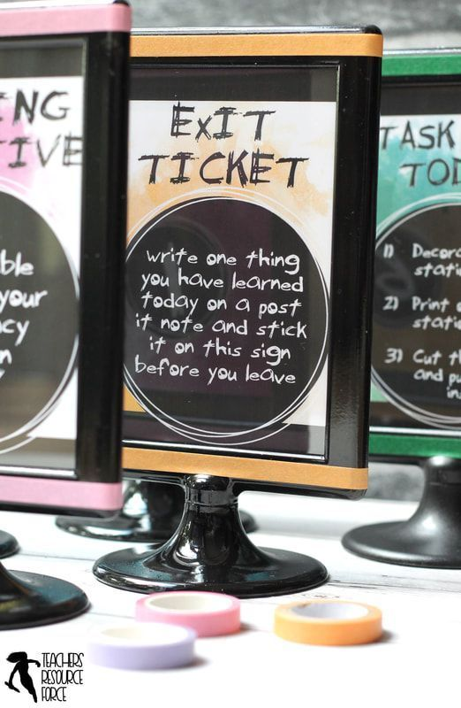 Ideas for station signs in the classroom!