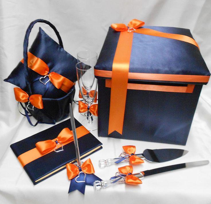 Navy Blue Orange Wedding Bridal Accessories by weddingsbyminali, $164.99