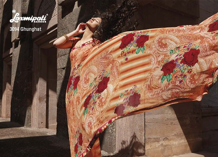 Coral orange & multi color georgette saree is a sensational with its printed border.