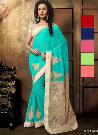 Dazzling Turquoise Butta Work Short Net Pallu Designer Sarees