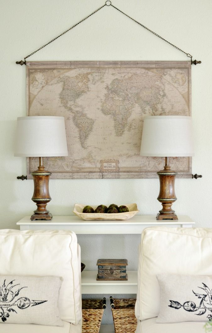 A vintage looking map on canvas hanging from a chain is a fantastic addition to any room.
