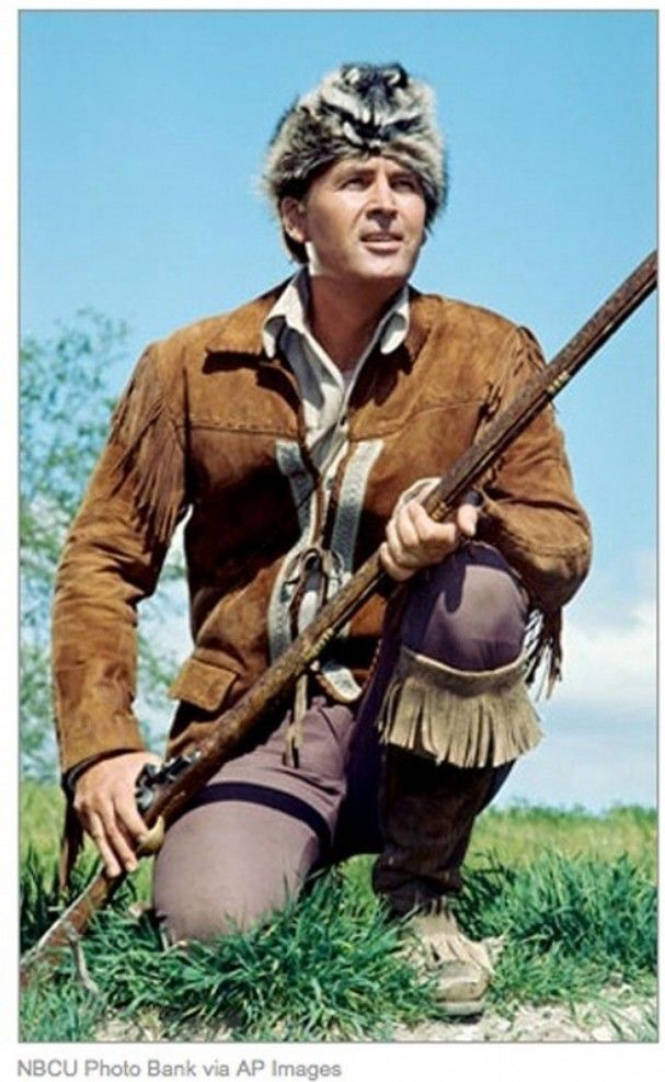 Fess Parker as Davy Crockett in 1955. After his years of playing frontier heroes, Parker retired and bought land in Central California. Along the way, he donated his movie long rifle to the Alamo and his coonskin cap and buckskins to the Smithsonian.