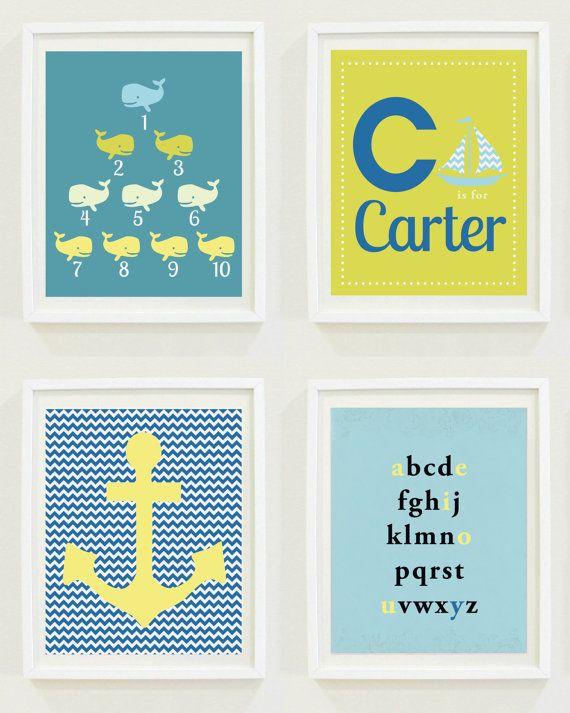 Nursery Print Ocean Set Whales Anchor Nautical by MKKMDesigns, $16.00