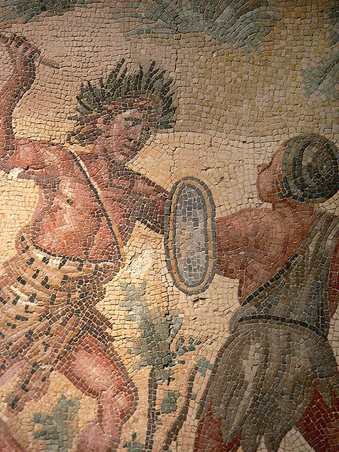 Detail of Roman Mosaic pavement depicting the struggle between Dionysus and the Indians from the Villa Ruffinella in Tusculum 4th century CE, via Flickr.