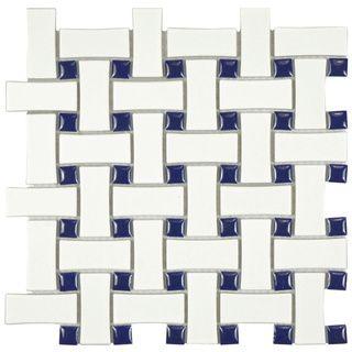 SomerTile 10.5x10.5-inch Victorian Basket Weave White/Cobalt Porcelain Mosaic Tile (Pack of 10) &68 shower floor? or nevy penny