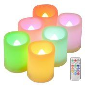 Kohree Set of 6 Flameless LED Colorful Changing Votive Candles with Remote and Timer, Battery-Included Image 1 of 7