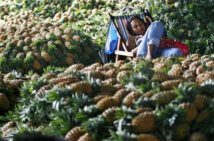A fruit vendor takes a rest from selling pineapple at a public market in Quezon City Metro Manila.