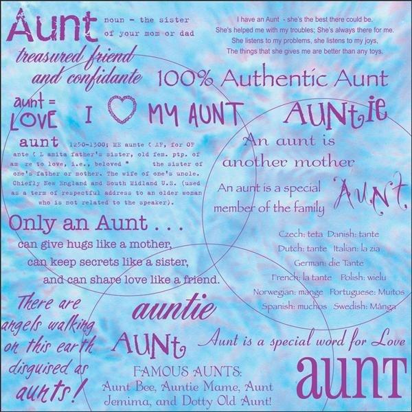 """Dinglefoot's Scrapbooking - Aunt 12"""" x 12"""" Scrapbook Paper, $0.75 (http://www.dinglefoot.com/aunt-12-x-12-scrapbook-paper/)"""