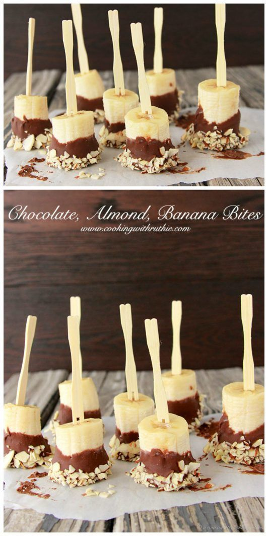 Frozen Chocolate, Almond, Banana Bites on www.cookingwithruthie.com are a healthy and delicious snack!
