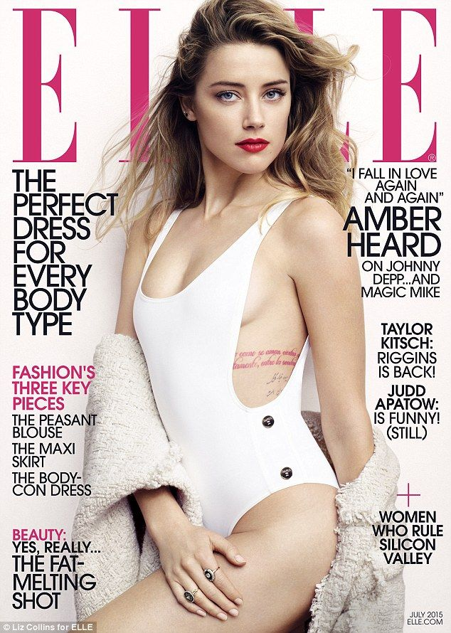 Cover girl:Amber Heard, 29, says 'nothing dramatic' changed when she married Johnny Depp, 52, as she strips down to a swimsuit for ELLE, out now