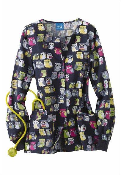 Cherokee Scrub HQ Owl Be There print scrub jacket.