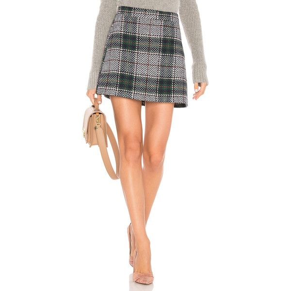 Endless Rose Plaid Mini Skirt ($60) ❤ liked on Polyvore featuring skirts, mini skirts, white mini skirt, short plaid skirt, white skirt, tartan miniskirts and knit skirt
