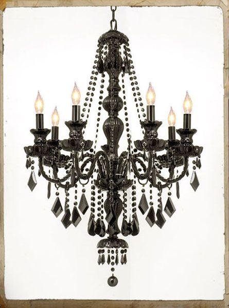 7 LIGHT BLACK CRYSTAL CHANDELIER