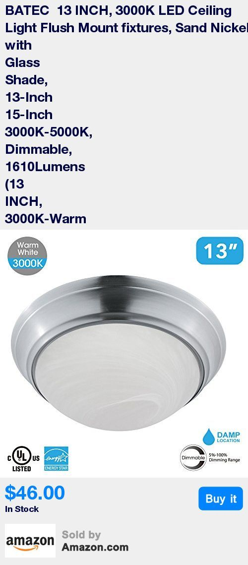 13-Inch sand nickel and frosted glass ceiling designed light, only use 23-Watts, 3000K-Warm White, and 1610 Lumen Output at 50,000 hours life * This flush mount LED lights is greatly suitable for your kitchen, bedrooms, laundry, garage, offices, meeting room and many more commercial and residential applications that you need a bright ceiling light. This contemporary flush mount LED ceiling light is more easy to install which makes its indispensable for most homes. * Fixtures operates high lu