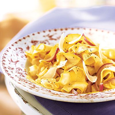 Yellow Squash Ribbons with Red Onion and Parmesan