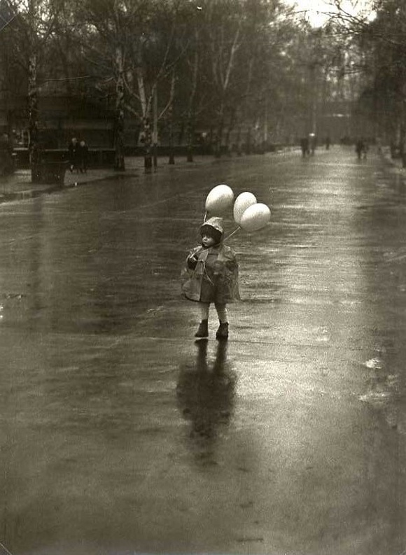 i. love. this. ~ Tibor Honty - Child with Balloons in the Rain, Slovakia