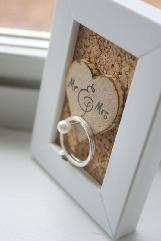 inspriation Etsy Wedding Ring Holder Frame - Rustic - Shabby Chic - Unique Gift