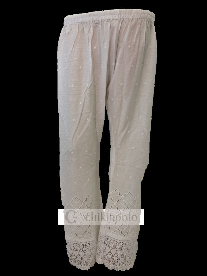 Womens designer white cotton Palazzo pants trousers with elasticated waist and wide leg style crocheted at the bottom $16.50