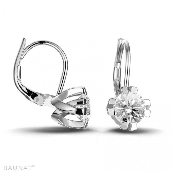 1.80 quilates pendientes diamantes diseño en platino con ocho garras