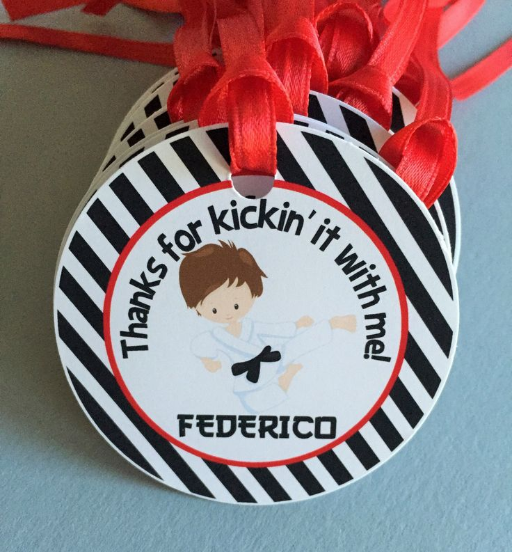 Karate Birthday Party Personalized Favor Tags, Thank You Tags, Treat Tags, Goody Bags,  Party Favors, Party Decorations, Set of 12 by sweetheartpartyshop on Etsy https://www.etsy.com/listing/254572404/karate-birthday-party-personalized-favor