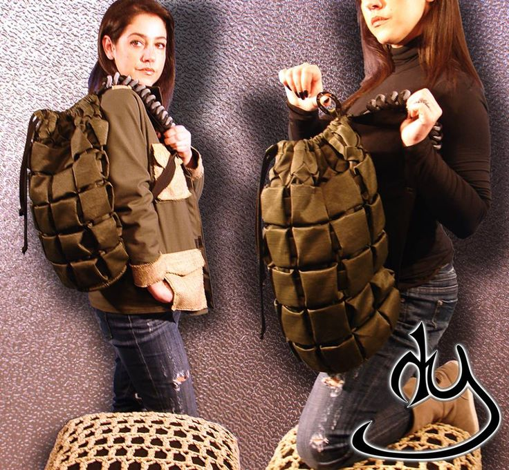 Army Style back pack made to look like a hand grenade, inside pockets, and lining.  From our ARMY COLLECTION