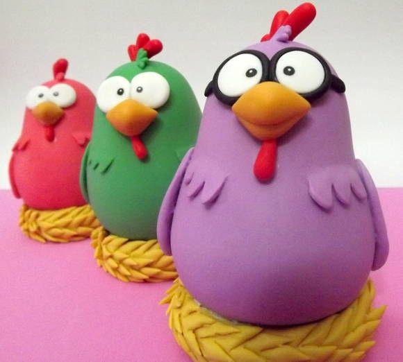 Galinhas Cantoras - Turma da galinha pintadinha Para topo de bolo ou enfeite de mesa. R$ 82,80