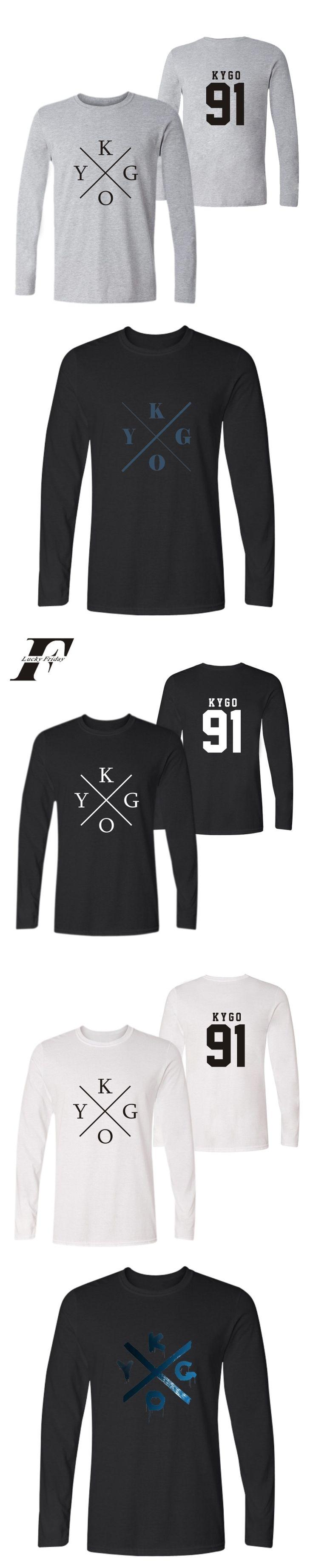 LUCKYFRIDAYF harajuku hip hop DJ Kygo Logo Fans Autumn T-shirt Print Men fitness Tshirt Homme Cotton Long sleeve Tshirt 4XL