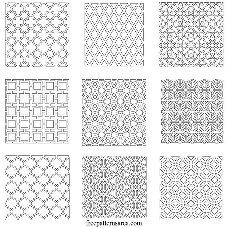 9 different free geometric repeating pattern vectors. Download free dxf file, eps vector, transparent png, svg, cut out pdf, dwg and stl files which are compatible with laser cutting machines.  Square geometric repeating patterns are very flexible. Motifs can be added to each other and cover the surface as much as you want. They have fractal